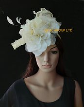 New Arrival.Ivory cream feather fascinator sinamay fascinator hat bridal fascinator with feather flowers& 3pcs silk flower.(China)