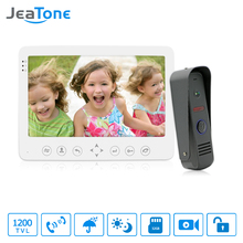 JeaTone 7 Inch HD 1200TVL Video Door Phone System 1 IR Night Doorbell Camera and 1 Touch Button Hands-free Monitor Intercom Kit(China)