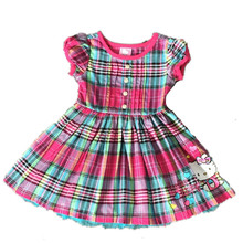 ,6pcs/lot 2-6 yrs little Girl's summer Dress,hello kitty dress,girls kitty plaid dress,three colors