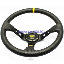 14 inch OMP Carbon Fiber PVC Steering Wheel Deep Dish Racing Drifting Rally Car Steering Wheel