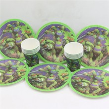 20 Kids Party Ninja Turtle Cartoon Baby Shower Birthday Party Theme Paper Plates Glasses Boy Girl Tableware Set Decorations