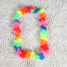 10pcs/lot artificial Hawaiian leis Party Supplies Garland Necklace Colorful Fancy Dress Hawaii Beach Fun Luau Party flowers(China)