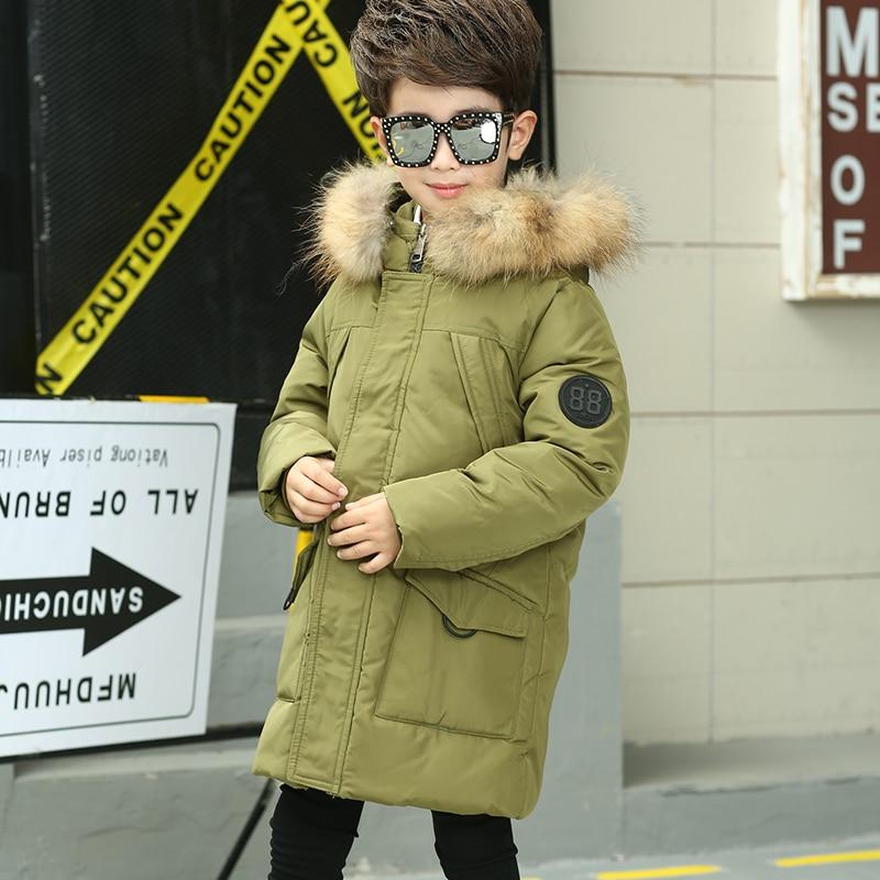 HSSCZL Boys Down Jackets 2017 New Winter Thicker Children Down Coat Hooded Boy Down Jacket Outerwear Overcoat Parkas Natural FurÎäåæäà è àêñåññóàðû<br><br>