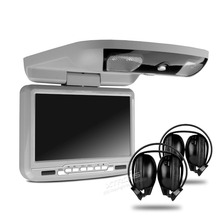 9 Inch Grey Color (Black & Beige Optional) Flip Down Car DVD Car Roof Monitor Roof Mounted Car DVD with 2 IR Headphones