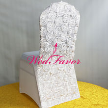 100pcs White Lycra Spandex Rosette Chair Covers Satin Rose Back Wedding Stretch Chair Covers For Hotel Banquet Event Decoration