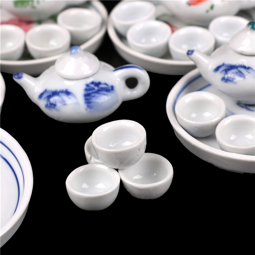 Toys & Hobbies 6pcs Tea Pot Tea Cups Round Dishes Miniature Dollhouse Dinnerware Porcelain Tea Set Tableware Cup Plate Colorful Floral Print Pretend Play