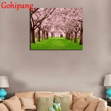 Popular models Cherry Blossom Avenue No Frame DIY Painting By Numbers Kits Paint On Canvas Painitng By Numbers Wall Decor(China)