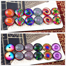 12pcs/lot (One Set) Two Style 12mm Fashion bright color Handmade Glass Cabochons Pattern Domed Jewelry Accessories Supplies