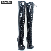 Buy jialuowei 18cm Super High Heel Wedges Heelless Ballet Boots Lace-up Fetish Erotic Sexy Zip Crotch Thigh High Over-the-Knee Boots