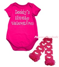 Daddy Little Valentine Hot Pink Baby Girls Bodysuit Heart Leg Warmer Set NB-18M(Hong Kong)