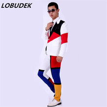black white red block men suits jacket pants set wedding prom groom dancer singer performance show clothing outdoors Slim wear