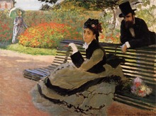 Camille Monet on a Garden Bench High quality Claude Monet Canvas Art for sale Impressionist Painting Landscape Hand painted