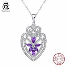 ORSA JEWELS Silver Sterling Solid Necklace&Pendant Water Drop Shape With Chain Purple CZ Shiny Party Jewelry SN59(China)