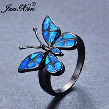 JUNXIN Brand Female Butterfly Ring 2017 Fashion Blue Fire Opal Ring Black Gold Filled Jewelry Vintage Wedding Rings For Women(China)