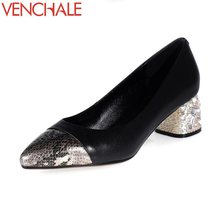 Buy VENCHALE rhinestone decoration heels genuine leather snake skin pointed toe women pumps mixed colors female shoes big size for $40.70 in AliExpress store