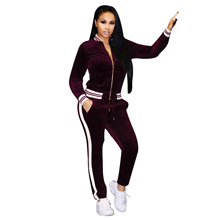 NEW Bts Solid Business Suit Tracksuit Womens Contrast Ribbon Suite Female Sweatshirts Pants Sets Cloth Kerst Sweat Suits Women(China)