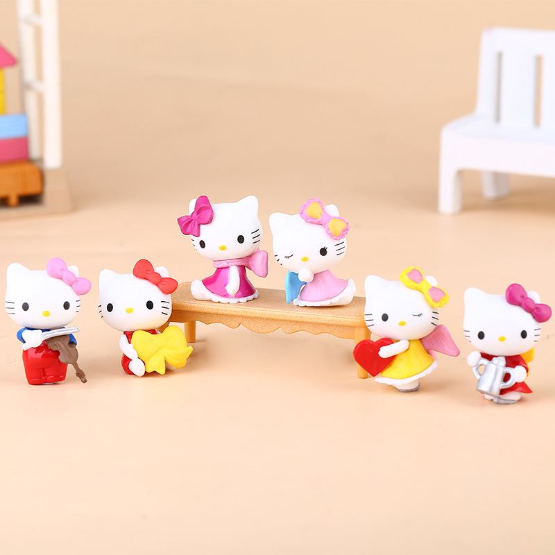 6pcs 5-8CM Cake theme Hello kitty Anime action figure collection PVC Toys Gifts