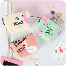 1 Piece Cartoon Fashion Cute Animals Birds Flamingo Girls Fresh Style Earphone Data Line Jewelry Coins Candy Storage Bag(China)