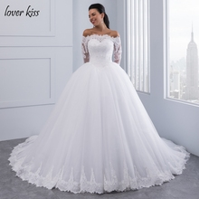 Lover Kiss Vestidos de Noiva Ball Gown Lace Wedding Dress Long Sleeves Off Shoulder Tulle Puffy Bride Gowns Casamento Mariage(China)