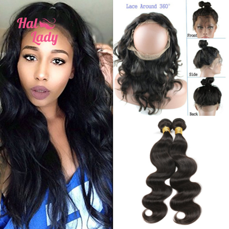 8A Pre Plucked 360 Lace Frontal With 2 Bundles Peruvian Body Wave Hair Natural Hairline 360 lace frontal with bundles 3pcs/lot<br><br>Aliexpress