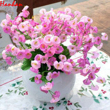 artificial flowers Hanhan Pink Wedding Festival Party Home Decoration Artificial Campanula Fake Silk Flower Leaf Best Price