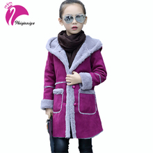 Girls New Winter Coat Kids Long Hooded Jackets Fashion Thicken Warm Outerwear Baby Clothing Children's Outerwear Cotton Clothes(China)