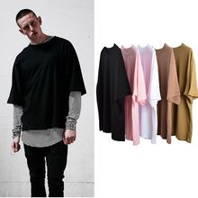 myweibo American Style Kanye West Street OVERSIZE Loose Shoulder Solid Color Half sleeve T-shirt For Men And Women