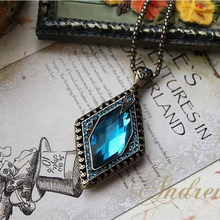 European and American trade jewelry retro Rhombus stone Crystal necklace long sweater chain free shipping