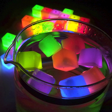 Wholesale 12 Pcs Creative Decorative LED Glow Light Up Ice Cubes Rocks Party Favor Fun Decoration Random Color