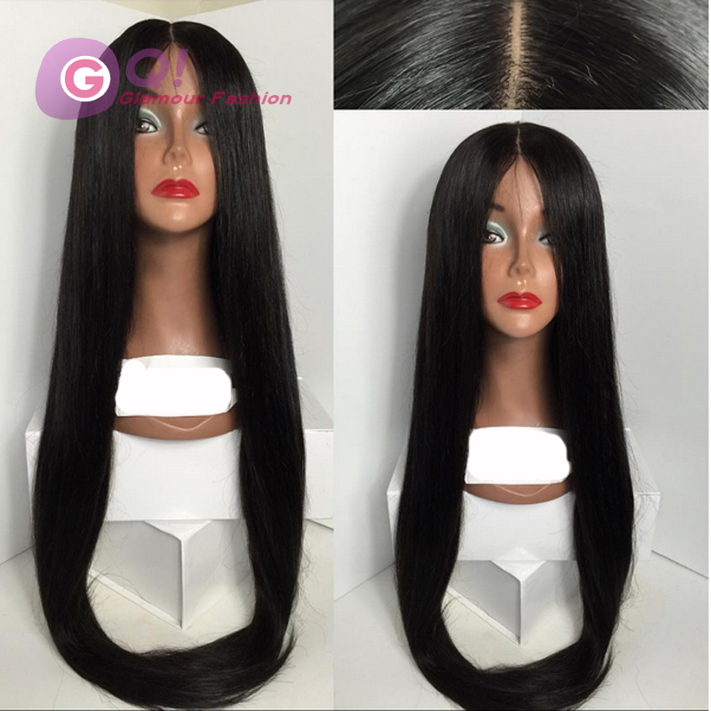 GQ Long straight lace front wigs glueless full lace front human hair brazilian wig 26 inch perruque bresilienne bleached knots<br><br>Aliexpress