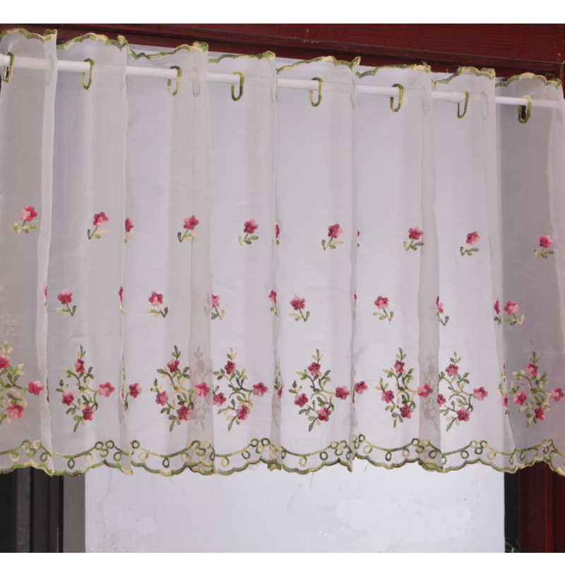 Embroidered Floral Short Curtains For Kitchen high 43cm Valance Pelmet Voile Curtains for Living Room Bedroom Door Window Blinds