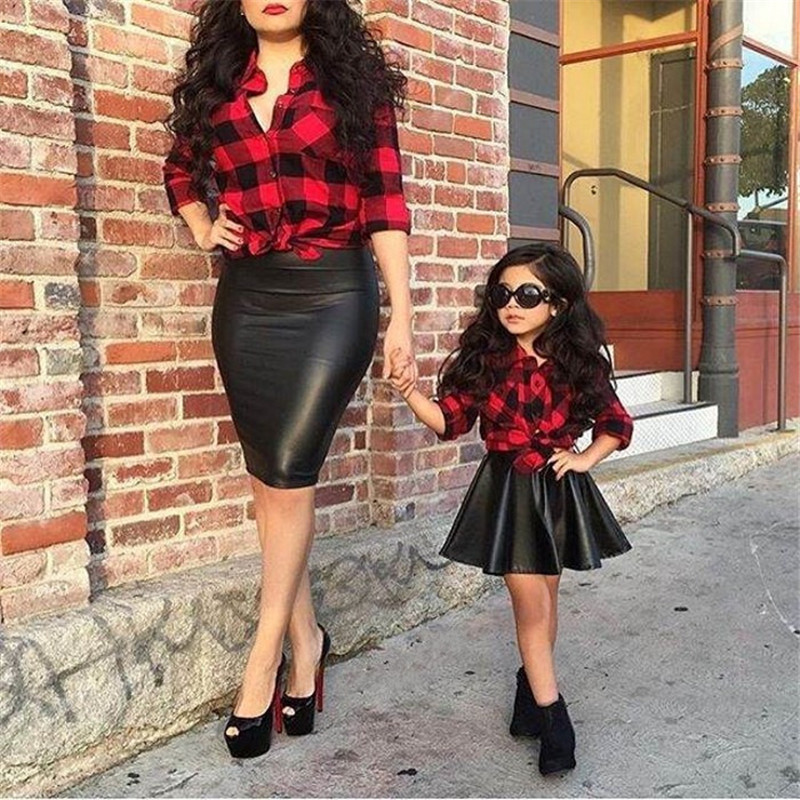 2017 Spring Summer Girls Clothes Set Children Clothing Cotton Red Plaid Blouse Shirt &amp; PU Faux Leather Elastic Tutu Skirt <br><br>Aliexpress