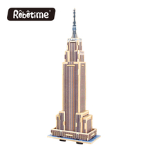 Robotime Mini Educational DIY Model 3D Puzzle Toy 34 Pcs Empire State Building Model famous buildings Toys for Children 2017 New(China)