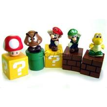 "Game Super Mario Bros Mini Figures Bundle Blocks a Set of 5pcs ~2"" Figures Mario Goomba Luigi Koopa Troopa and Mushroom(China)"