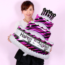 1pcs/lot 100*68cm Three layers Birthday cake balloons aluminum foil ballon happy birthday printed balloon