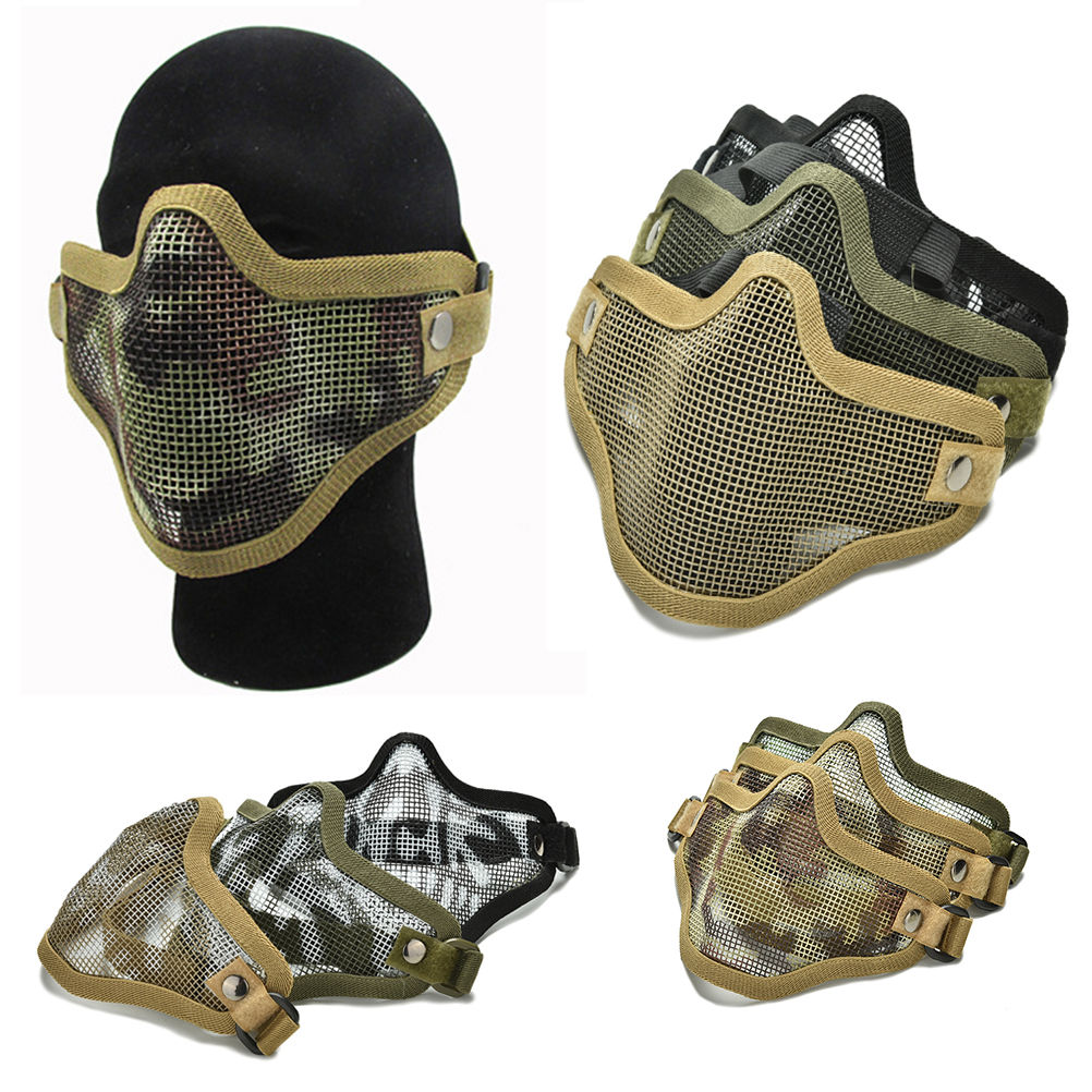 2016 New Male Men Airsoft War Game Half Face Guard Mesh Mask Protector Protective New Halloween Accessories Supplies(China (Mainland))