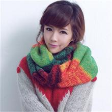 CUHAKCI Women Scarf Gradient Colorful Sweet 2017 New Fashion Knitted Ring Scarves Wool Green Red Orange Women Winter Scarf Red(China)