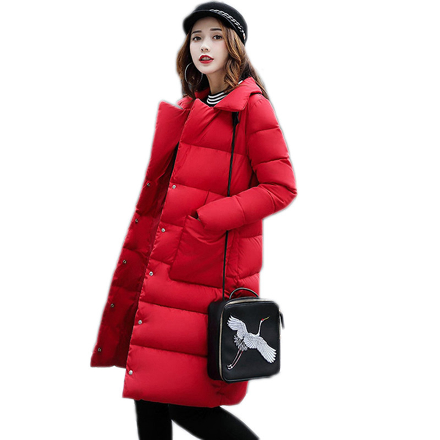 2017 Winter Fashion Women Jackets Long Design Cute Cotton Padded Coats Casual Warm Hoodies Loose Padded Parkas YP1005Îäåæäà è àêñåññóàðû<br><br>