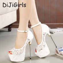 women summer sandals lace pumps women party shoes platform pumps white wedding shoes stiletto heels open toe dress shoes D114(China)