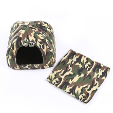 Pet Dog House Foldable Soft Winter Camouflage Dog Bed Small Dogs Cave Cat House Cute Kennel Comfortable Warmer Nest(China)