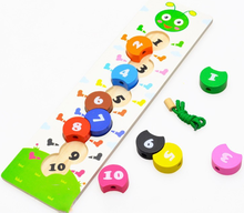 2015 New Creative Wooden Caterpillar Lacing Beads Number Blocks Threading Educational Toys
