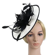 Vintage Black and White Boutique Headdress for Bridal Net Feather Party Pillbox Hat Sinamay for Woman Veil Fascinators Hairband