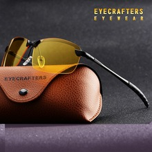 Eyecrafters Mens Rimless Polarized Sunglasses Yellow Lens Night Vision Anti-glare Goggles Glare Block Driver Sunglasses Eyewear(China)