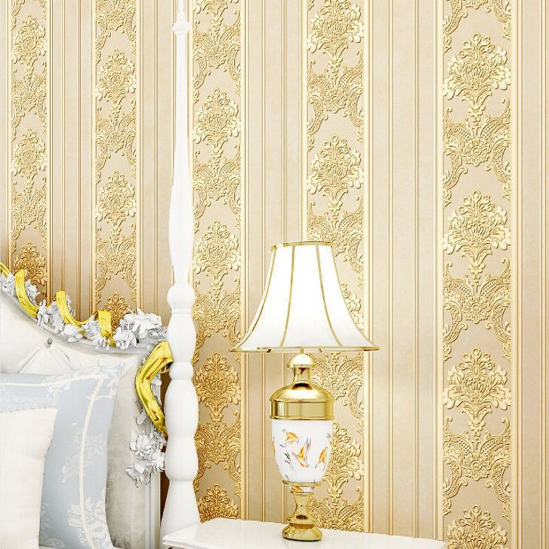 Free Shipping Thicker Continental Damascus Nonwovens Relief Wallpaper Living Room Background Bedroom Bedside Blue Wallpaper<br>