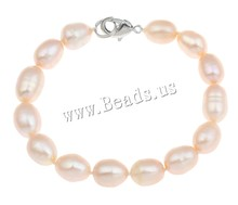 Freshwater Cultured Pearl Bracelet New 2014 Freshwater Pearl Sterling Silver clasp Rice natural
