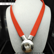 Snap Button Jewelry Newest Magnetic Bright Orange Sector Soft Sheepskin Genuine Leather Serpentine Pendant Necklace OEM ODM(China)
