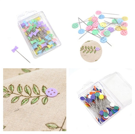 Hot Sale 100 Pcs/Pack Sewing Pin Bow Tie Button Plum Shape Flower Pin Sewing Accessories Patchwork Pins