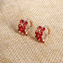 Hesiod Brilliant AAA Austria Crystal Women Earrings Rose Gold Color Red Rhinestone Zircon Earrings Studs(China)