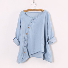 Johnature 2017 New Women Shirt Slant Oblique Button Irregular Roll Up Sleeve Wash Blue Pocket Loose Casual Top Blouse(China)