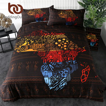 BeddingOutlet African Map Bedding Set Geometric Duvet Cover Set Retro Exotic Home Textiles Blue Red Yellow Bedclothes 3-Piece(China)